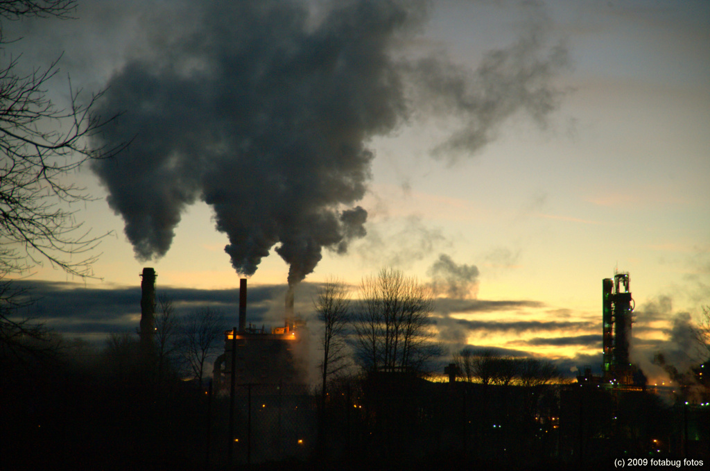 Smoke stacks in early morning light